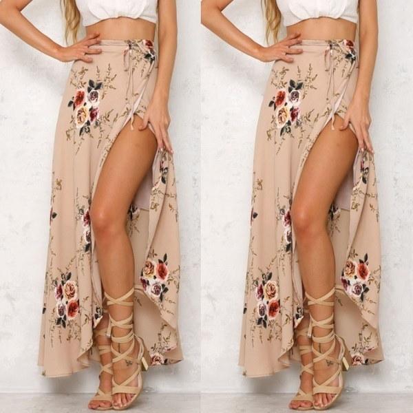 Floral Print Ruffles Chiffon Maxi Dresses Split Beach Summer Dress Sexy Women Long Skirt