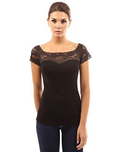 PattyBoutik Womens Square Neck Lace Insert Top (Black L)