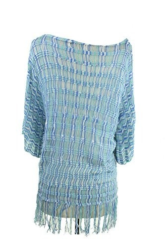 NY Collection Womens Fringe Hem Poncho Sweater (L, Blue)