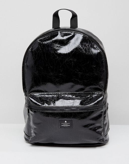 ASOS Backpack In High Shine Cracked Faux Leather