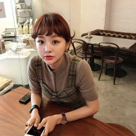 [Imvely] Caramel Check Long Dress Korean fashion style