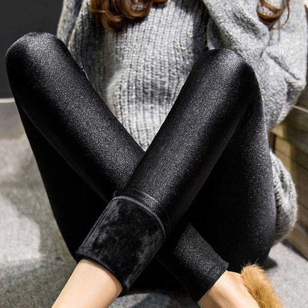 ホット販売!!!冬の女性のタイトなレギンス暖かいソフトパンツ弾性の厚い黒いズボン(カラー:
