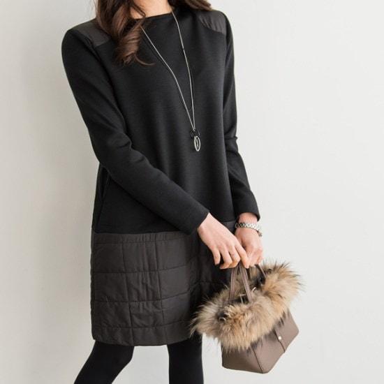 ピピンラスタパディングキルティングポケットワンピース35011 綿ワンピース/ 韓国ファッション
