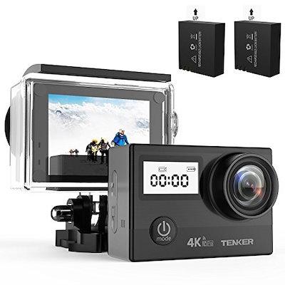 [アクションカム] TENKER 4K アクションカメラ 2000万画素 日本製SONYセンサー使用 2インチ液晶ディスプレイ 手ぶれ補正 170度広角レンズ 1080P 30m防水可能 WiFi機能