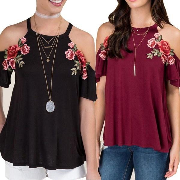 女性ファッションセクシーなローズ刺繍オフショルダーロングトッププラスサイズのルーズシャツ