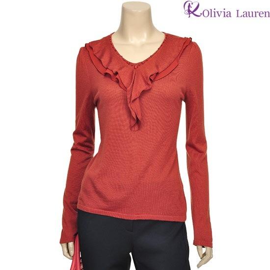 オリビアローレンビディンラッフル装飾ニットVOCBLNF841125 ニット/セーター/カラーニット/韓国ファッション