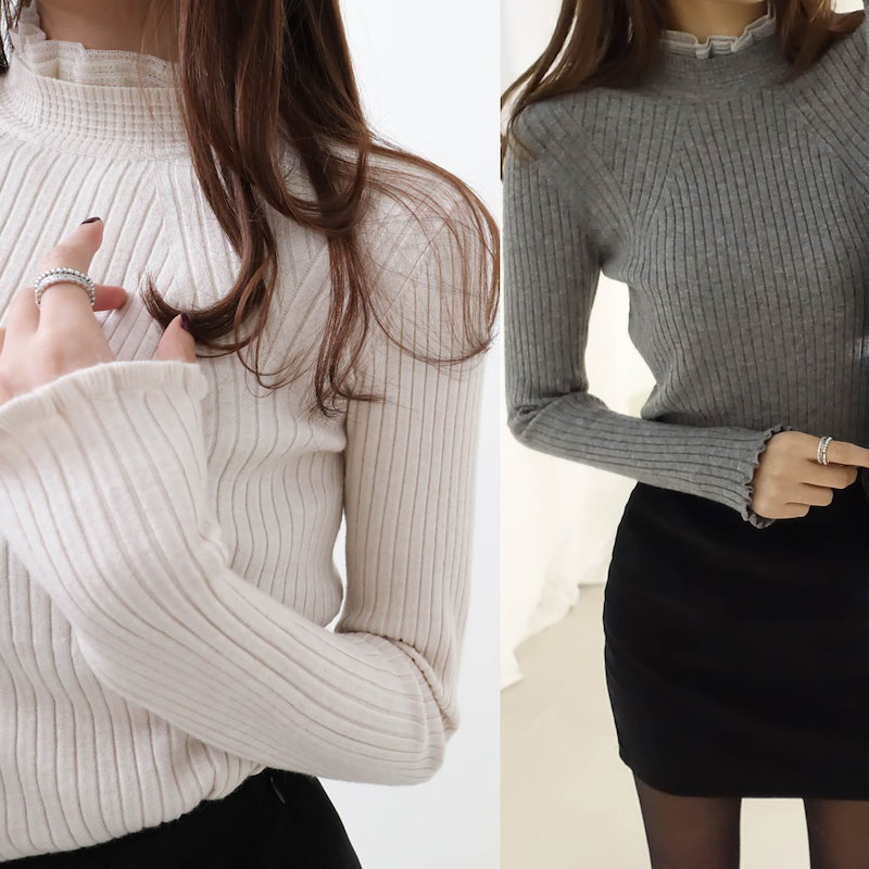 [Deming] 4 color lace knit cut