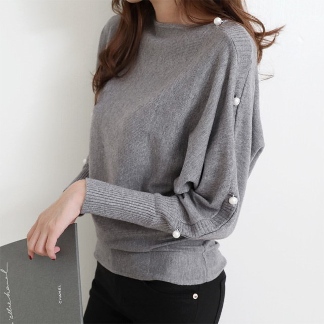 [Deming] Loose knit four-color knit loose knit loose pearl