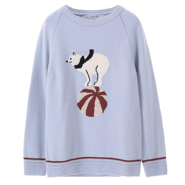 [韓国直送] 【オンエンオン] round neck bear knit NK7WP512
