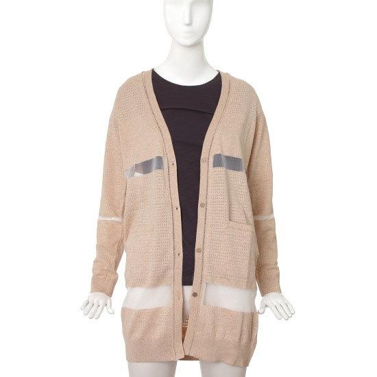 バレンシア女性衣類シースルー・配色ロング・ニットV54MK51 ロングニット/ルーズフィット/セーター/韓国ファッション