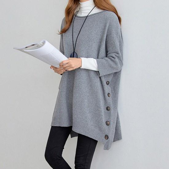 ペッパーボタンポイントルーズフィットニット104393 ニット/セーター/ニット/韓国ファッション
