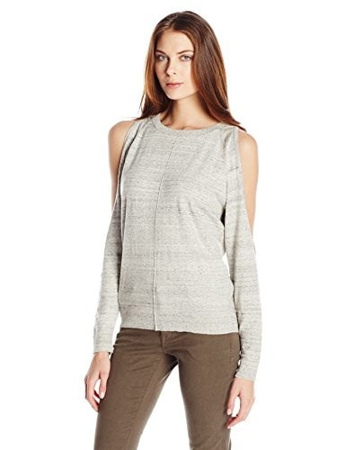 Bailey 44 Womens Olypmus Cold Shoulder Sweater, Grey, Large