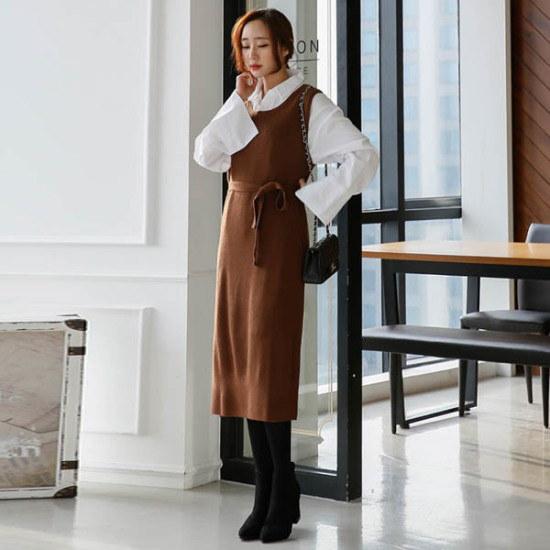 シークフォックスセニカールロングニット・ワンピース ニット・ワンピース/ 韓国ファッション