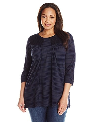Lucky Brand Womens Plus-Size Shadow Stripe Mix Top, American Navy, 2X