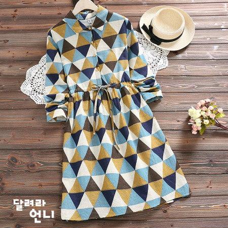 暖かい三角パターン起毛ワンピースkorea fashion style