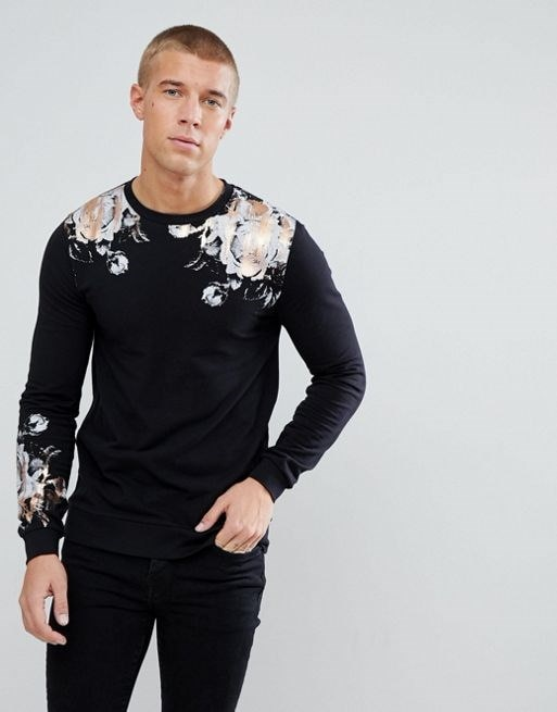 ASOS Muscle Sweatshirt With Rose Foil Print