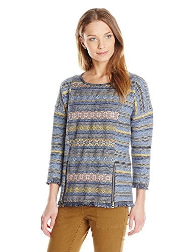 Lucky Brand Womens Escape Fringe Pullover Sweater, Multi, Small