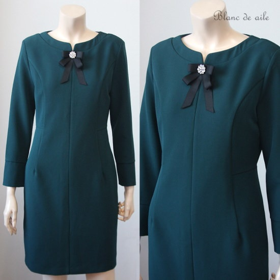 ブランドエルBD21D446ベロニカブローチワンピースグリーン 大きいサイズ/ワンピース/韓国ファッション