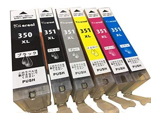 ereal(エレアル) キャノン 一年保証 インク カートリッジ BCI 351 BCI 350 6色 マルチパック 残量表示 ICチップ canon 互換 (5色6個セット)5色6個セット
