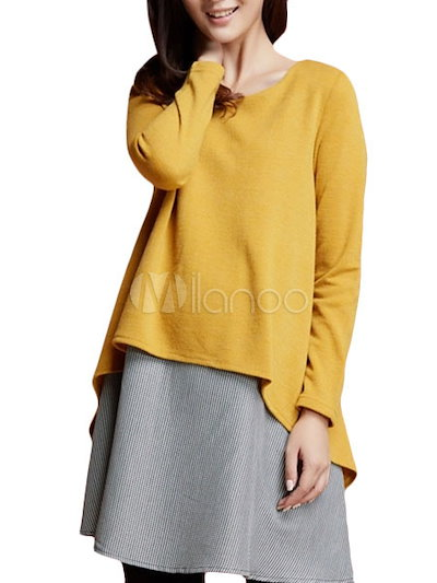 Long Sleeve Fake Two-Piece Dress for Maternity