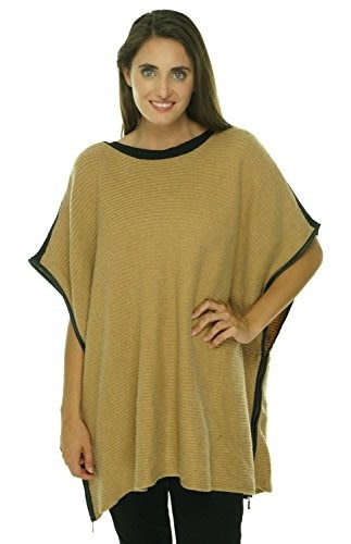 Charter Club Faux-Leather-Trim Knit Poncho, Warm Truffle Heather, 0X-1X
