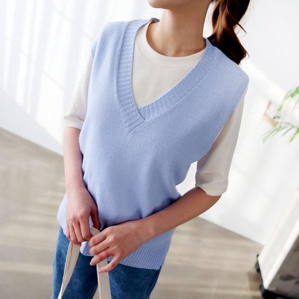 [送料無料]★5COLOR★ベーシックオンバルVネックニットベスト(knit479)