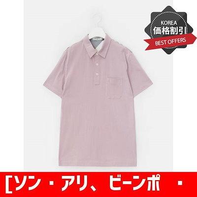 [ソン・アリ、ビーンポール]ラベンダーチェック配色カラーシャツ(BC8342A04T) /カラーTシャツ/ Tシャツ/韓国ファッション