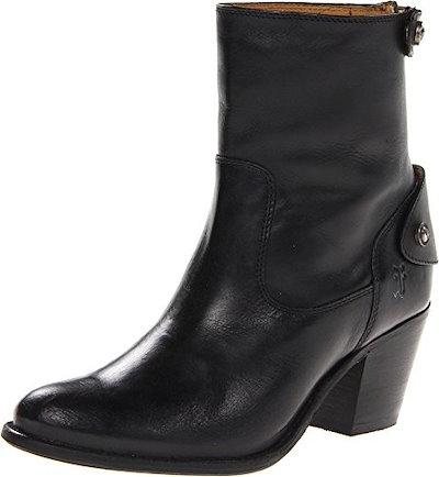 FRYE Womens Jackie Zip Short Boot, Black, 7 M US