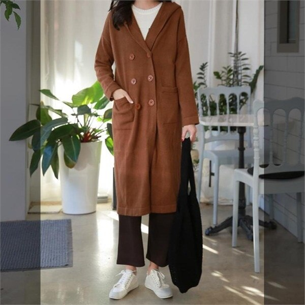 ピンクシスレーゴールデンエールアンゴラフードコート 女性のコート/ 韓国ファッション/ジャケット/秋冬/レディース/ハーフ/ロング/