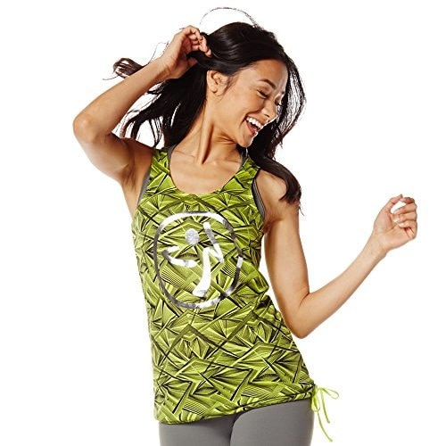Zumba Fitness Womens Beamin Bubble Tank Top, Zumba Green, X-Large