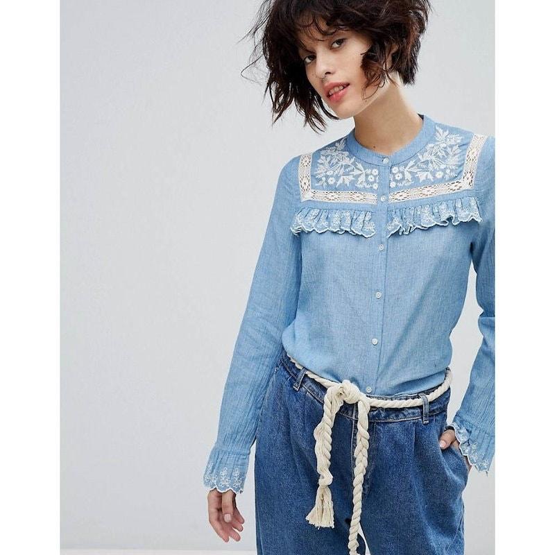 レオンアンドハーパー レディース トップス ブラウス・シャツ【Leon and Harper Chambray Shirt with Enbroidered Yoke】Blue