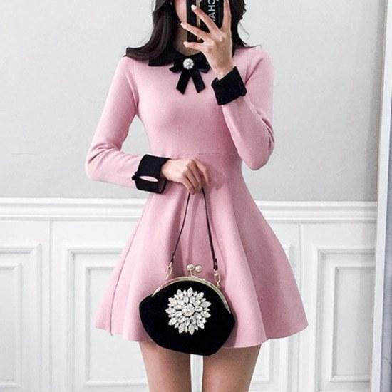 パビエンポムキン行き来するようにパビエンポムキンローズシャンパンニット・ワンピースブローチセット ニット・ワンピース/ 韓国ファッション