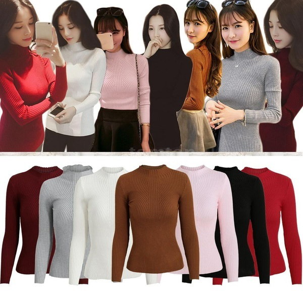 Winter Fashion New Fashion Women Knitted Sweater Striped Turtle Neck Long Sleeves Stretchy Elegant P
