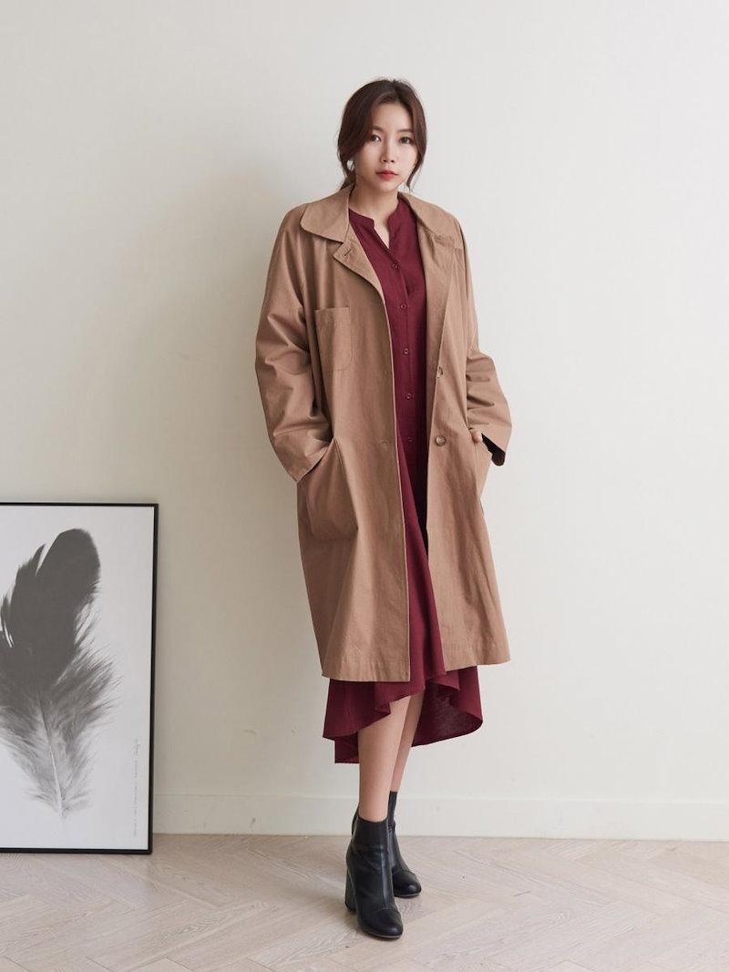 【送料無料】デイリーコーデはもちろんオフィススタイルにも使えるので、一枚持っているととっても重宝するはず☆コート アウター スプリングコート トレンチコート 秋 オーバーサイズ 大きいサイズ シンプル