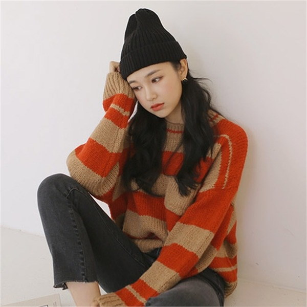 ジェントル・ストライプニットnew 女性ニット/ラウンドニット/韓国ファッション
