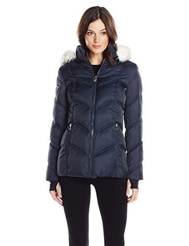 Nautica Womens Short Puffer Coat with Faux Fur Trim Hood, Marine, X-Large