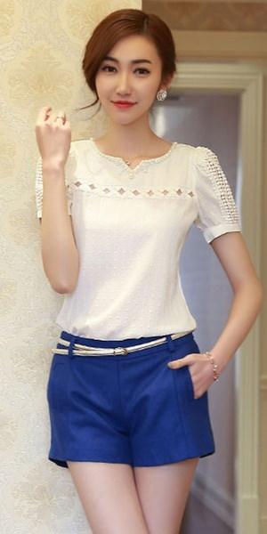 ファッションホットサイズS、M、L、XL、2XLホワイトサマーランドの女性白いオープンワークビーズの半袖ステッチ