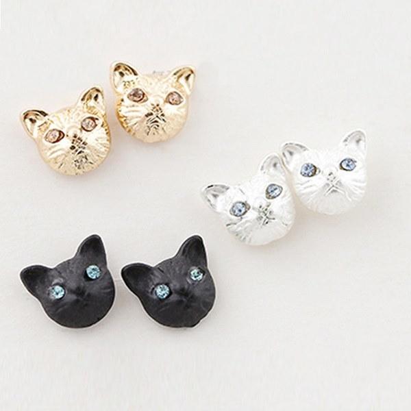 新しい女性のファッション黒い猫のクリスタルのラインストーンの耳のスタッドのイヤリングのジュエリー