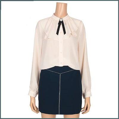 [チンウォンイエンシ、]ラブリーラッフルブローチセットブラウス(ENBA92410Z) /ルーズフィット/ロングシャツ/ブラウス/ 韓国ファッション