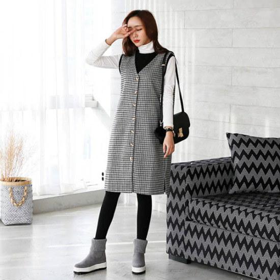 シークフォックスブリトチェックワンピース 綿ワンピース/ 韓国ファッション