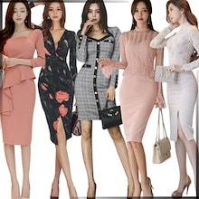 「 11/12 新作追加 Special Offer」♥高品質♥韓国ファッション♥OL、正式な場合、礼装ドレス♥セクシーなワンピース、一字肩♥二点セット、側開、深いVネック♥やせて見える、ハイウエ