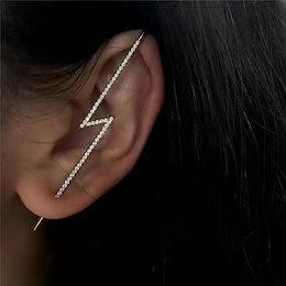 幾何个性ファッション、イヤリング2020新型赤い底潮網稲妻ダイヤモンドイヤリング金属の耳饰にかけ品LXME137