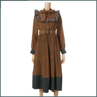 [カルチャーコール][オンライン専用]ジャン・チェック腰ベルトワンピースREOPJ206 /プリントワンピース/ワンピース/韓国ファッション