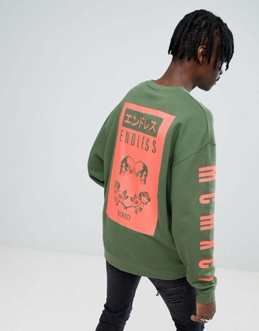 ASOS Oversized Sweatshirt With Skull & Chinese Text