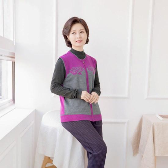 マダム4060ママの服バラジッパー配色チョッキXVE710008 ベセチュウ / ニット・ベスト/ 韓国ファッション