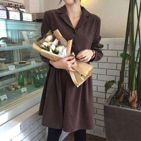 [mimididi] cocoa_5075 女っぽく♡チョコレート色のカラーVネックワンピース