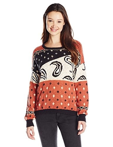Volcom Juniors Cause N Effect Printed Pullover Sweater, Teak, Small