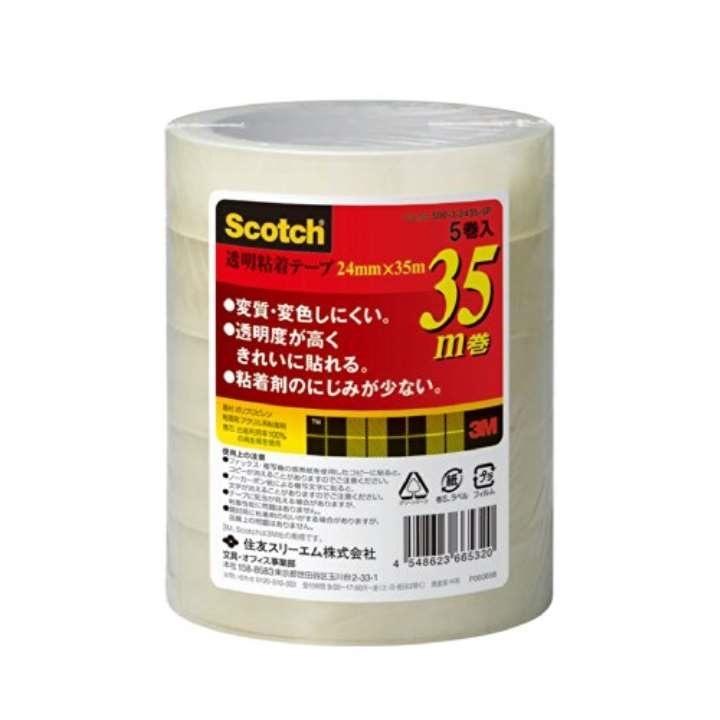 スコッチ セロハンテープ 透明粘着テープ 5巻 24mm×35m 芯76mm 500-3-2435-5P[22906050](透明 幅24mmx35m巻)