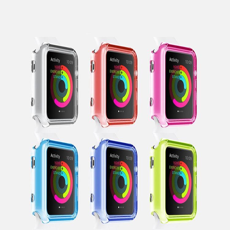 【メール便対応】Apple watch ケース アップルウォッチ/クリアカラーケース/0.55mmTPU/【38mm/42mm】Apple Watch 保護 カバー シリコン