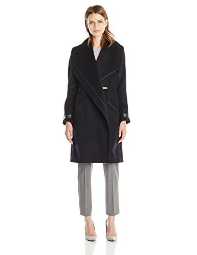 Badgley Mischka Womens Manila Wool Coat with Leather Trim, Black, Large